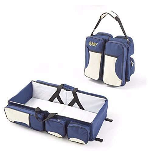 554b13245 3 in 1 Diaper Bags Portable Crib Changing Station   Travel Bassinet Baby  Travel Bed